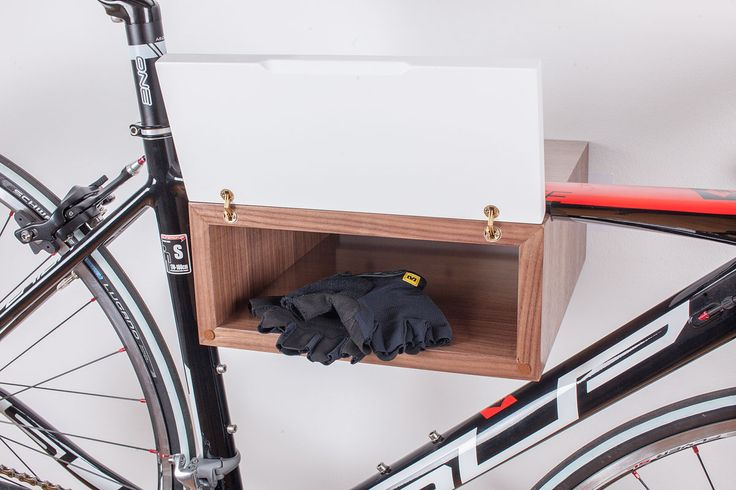 The minimalist look of the shelf fits in every modern living space. With clear lines and combination of colour and finish, it can make your bike glare even more. Hand made in Croatia. www.wooc.hr