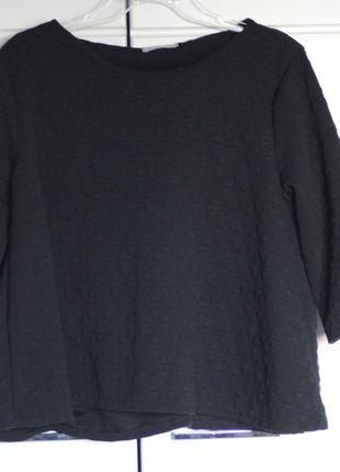 Kup mój przedmiot na #vintedpl http://www.vinted.pl/damska-odziez/bluzki-z-3-slash-4-rekawami/11908513-krotka-bluzkabluza-pikowana-czarna