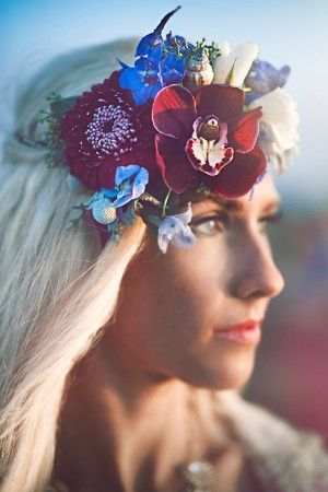 seaside inspired floral crown - photo by London Light Photography