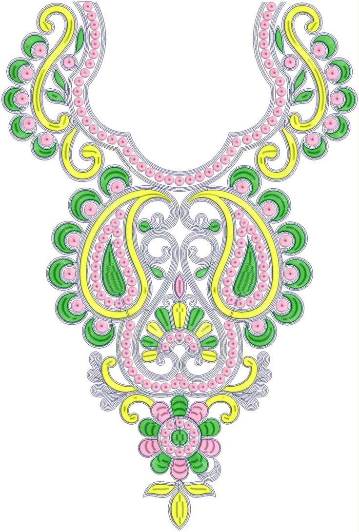 Fashion Women Neck Embroidery Design