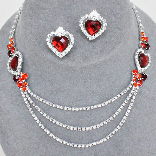 Glitzy Glamour red diamante clip on earring set Y61pq