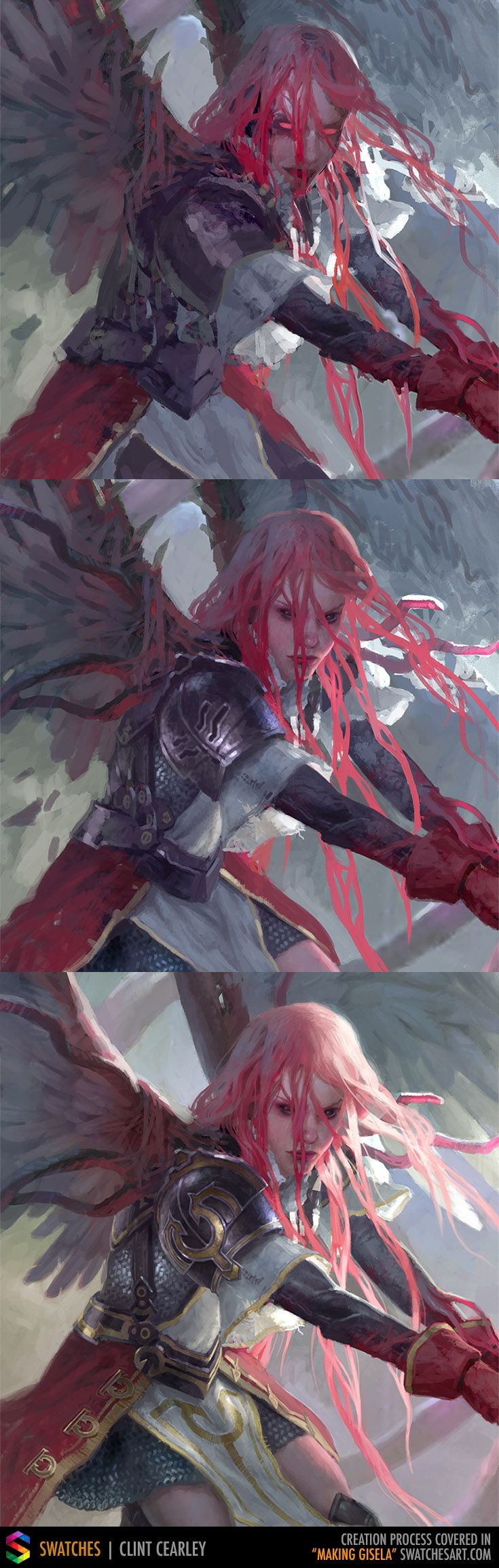Painting stages for Gisela, The Broken Blade which was created for Magic: The Gathering
