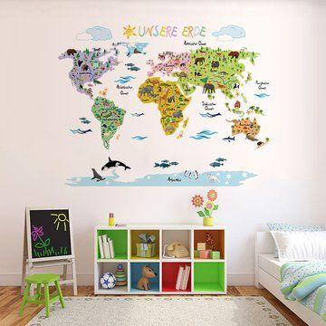 Perfect Wandsticker Weltkarte Kinder Geographie uTierwelt spielerisch Erlernen mit der Wandtattoo Wandsticker Weltkarte von Tokopi