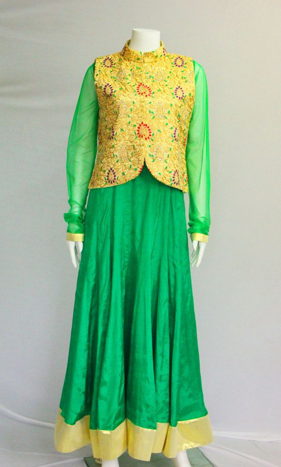 Green Anarkali with Golden Jacket Indian by BollywoodBoutiqueSTL, $250.00