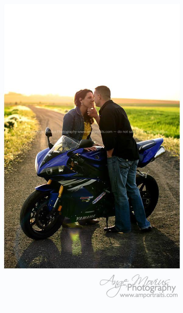 Engagement session couple portrait motorcycle sunset www.amportraits.com