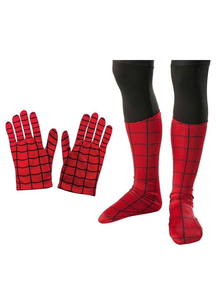 Spiderman Gloves And Boot Top Boys Costume Kit