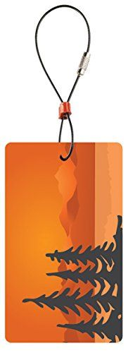 Lewis N Clark Travel Green Trees Luggage Tag Orange