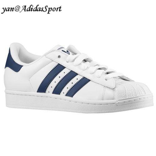adidas superstar blancas y azul marino