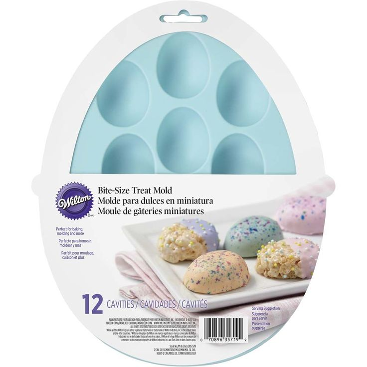 Bake bite-sized treats using this Easter Egg-Shaped Silicone Treat Mold. Flexible silicone bakeware is oven-safe up to 500° F, perfect for your favorite cake or brownie recipes. This fun, flexible silicone mold is a versatile enough to make baked, molded and even frozen treats. Makes 12 mini Easter egg-shaped treats.