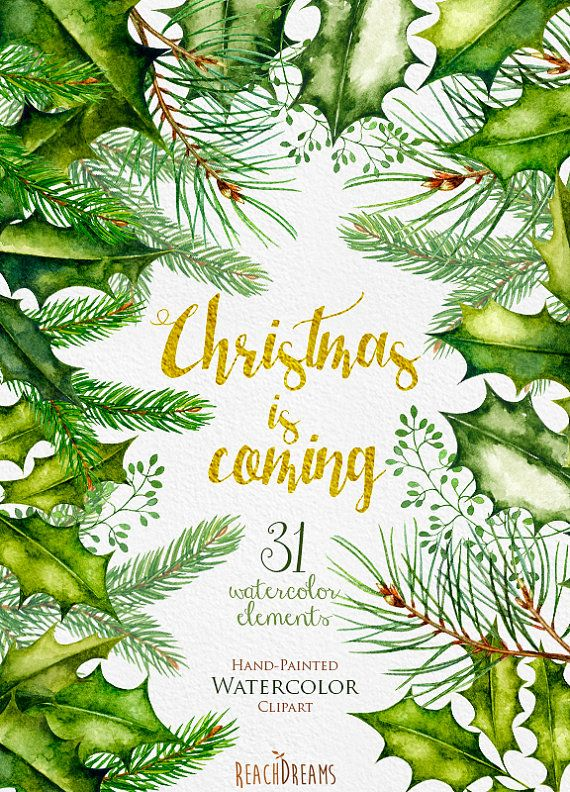 This set of 31 high quality hand painted watercolor christmas elements (spruce branches, poinsettia, pine cones, Christmas Star) Perfect graphic for wedding invitations, greeting cards, photos, posters, quotes and more. Item details: 31 PNG files (300 dpi, RGB, transparent background) Elements size (larger side) aprox.: 10 inch - 2 inch, 3000 - 600 px Instant Download: Once payment is cleared, you can download your files directly from your Etsy account. ---------------------------------...
