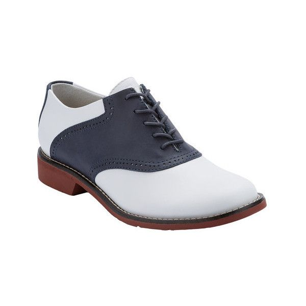 Women's G.H. Bass & Co. Dora Saddle Oxford ($80) ❤ liked on Polyvore featuring shoes, oxfords, dresses, professional shoes, lace up flats, leather flats, white oxford, flat shoes and navy leather flats