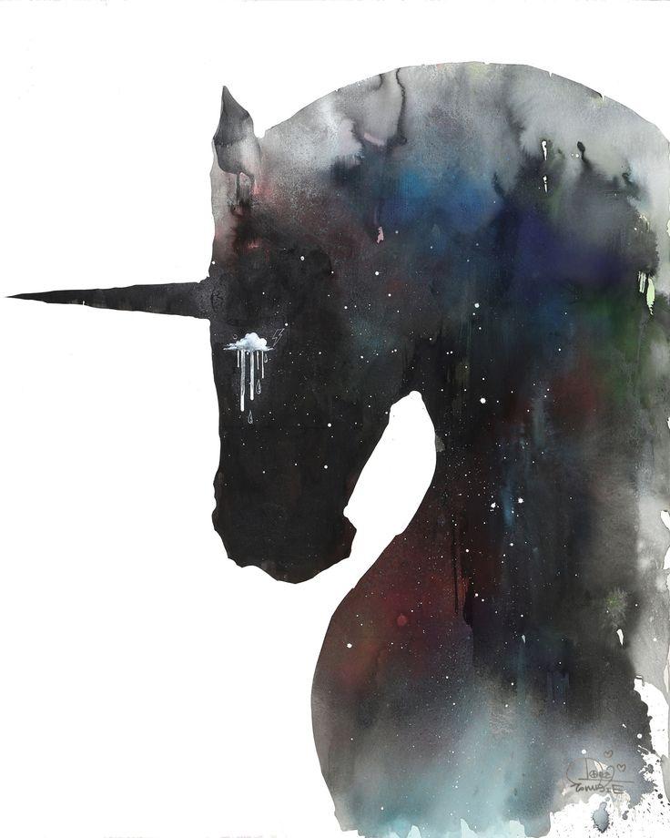 Dark Unicorn by Lora Zombie - Prints available at Eyes On Walls - http://www.eyesonwalls.com/products/dark-unicorn
