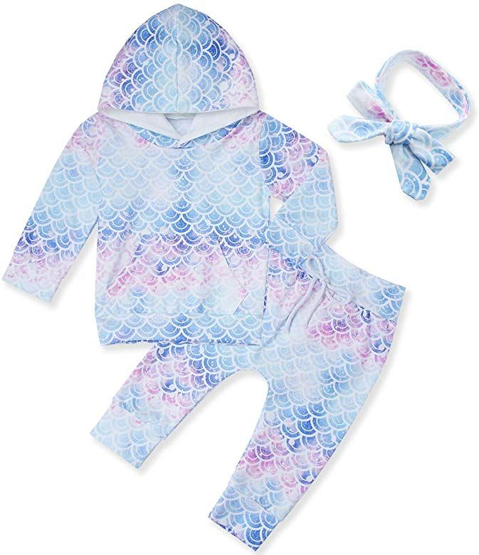 Baby Girls Clothes Set Letter Print Hooded Tops Floral Pants Headband Outfit Set