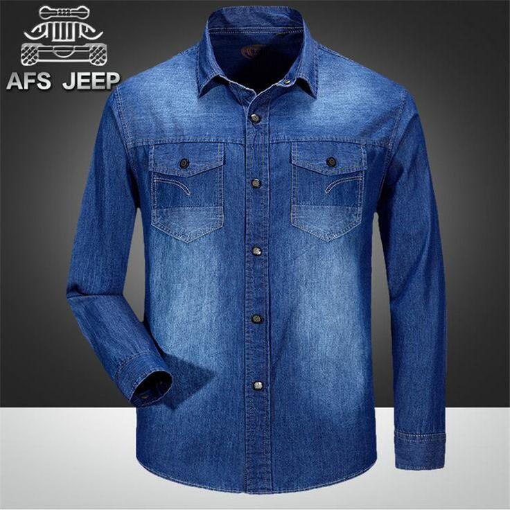 Рубашки aFS джип высокое качество мужские джинсовые 2015,100% хлопок спортивные самца кардиган верхней одежды, Осенние мужчины тонкий Overshirt 3xl / 2xl