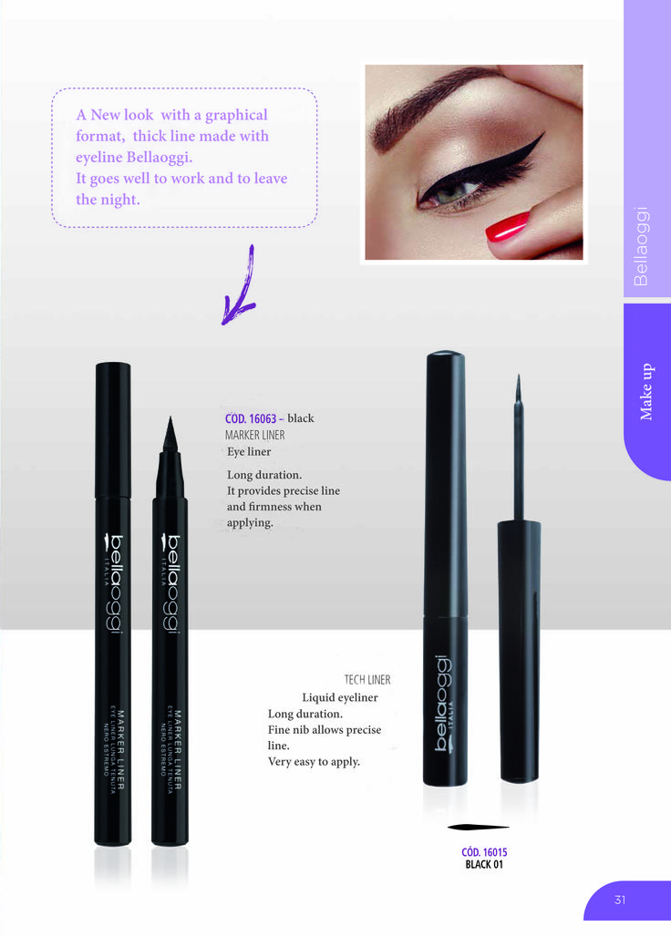BELLA OGGI  BLACK MERKER EYELINER  1.6g  The Bella Oggi Eyeliner Liquid Liner is a liquid eyeliner with an intense deep black finish which helps to give depth to any look.  Quick drying and easy to apply the Eyeliner has long lasting stay power. It fixes the color in place with a natural matte finish.  The fine tip bristle brush gives fine line precision and ease. Perfect for lining the inner eye corner of the eyelid or creating straight line winged eyes. Made in Italy