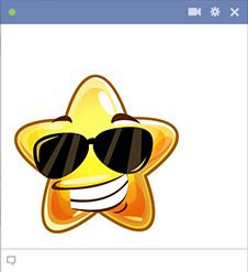 This star smiley is so bright it has to wear shades.