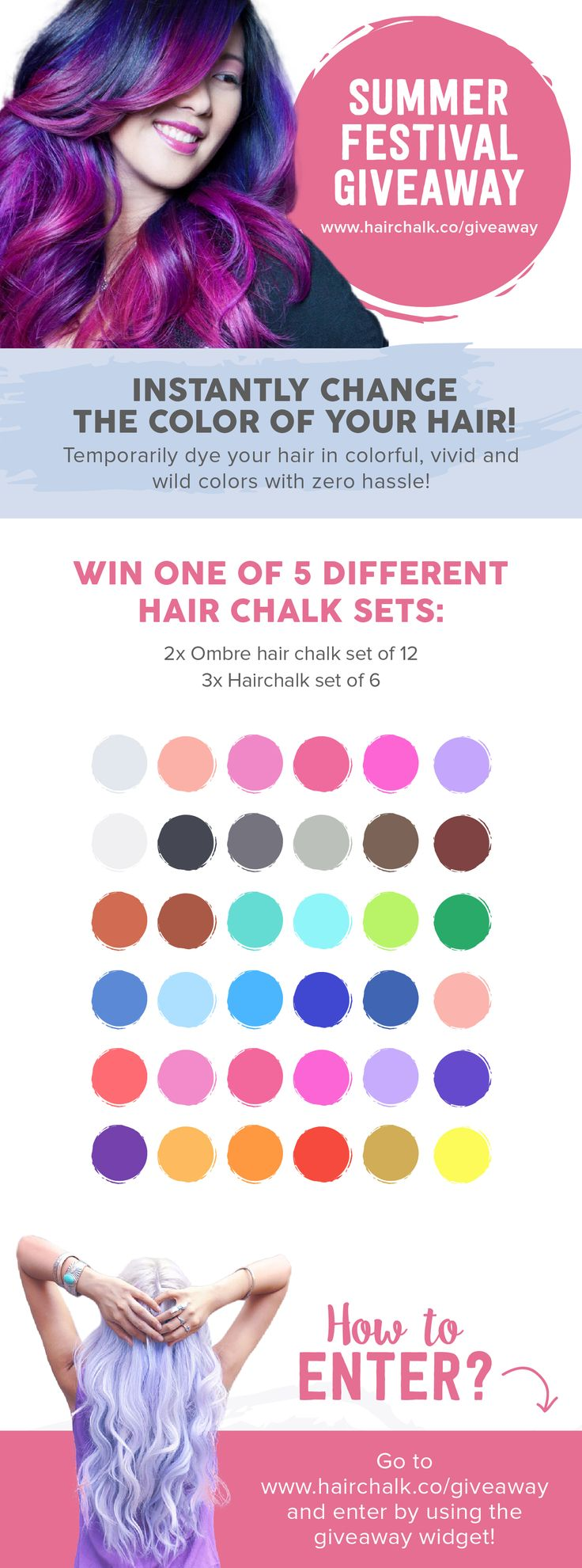Festival Hair Chalk Giveaway - Win a free ombre hair chalk set