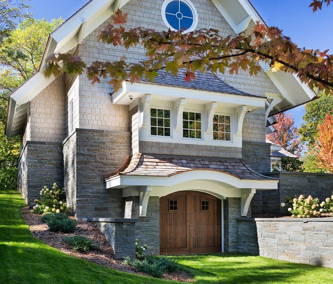 Stone and shingle exterior. Stone and stone exterior ideas. The stone is a standard blend of bluestone veneer offered by Orijin stone. The shingle is natural pre-stained Cedar Shakes. #Shingle #Stone #Exterior John Kraemer & Sons.
