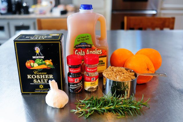 Orange peel Turkey Brine-3 cups Apple Juice Or Apple Cider 2 gallons Cold Water 4 Tablespoons Fresh Rosemary Leaves 5 cloves Garlic, Minced 1-1/2 cup Kosher Salt 2 cups Brown Sugar 3 Tablespoons Peppercorns 5 whole Bay Leaves  Peel Of Three Large Oranges