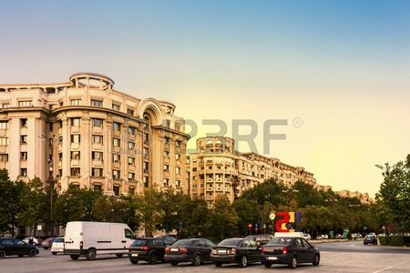 Rush hour on Unirii Boulevard in Bucharest, Romania.  Stock Photo