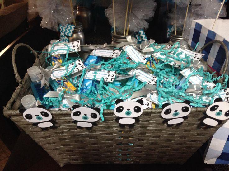 Panda baby shower favors! Hand sanitizers, baby boy!