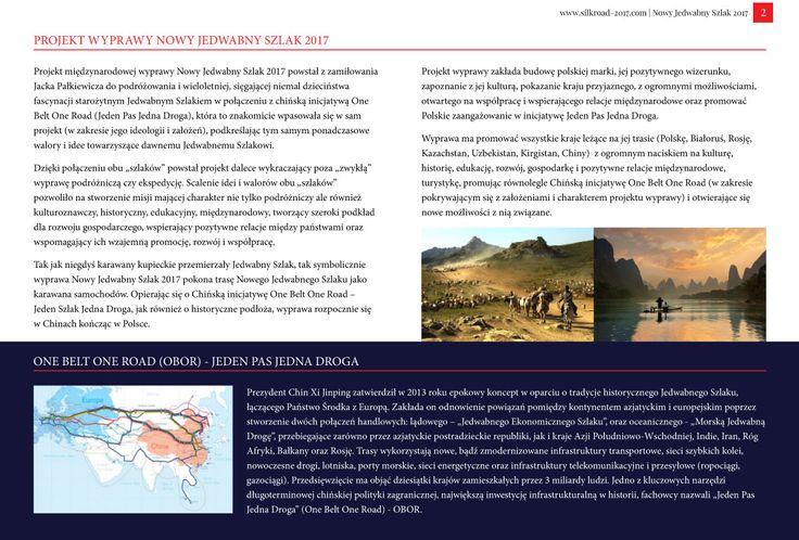 Strona 2 broszury międzynarodowej wyprawy Nowy Jedwabny Szlak 2017 - wydanie wrzesień 2016 | http://silkroad-2017.com