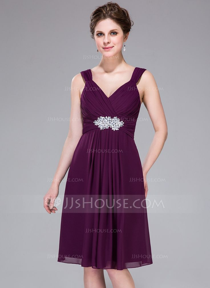 A-Line/Princess Sweetheart Knee-Length Chiffon Bridesmaid Dress With Ruffle Beading Appliques (007037222) - JJsHouse