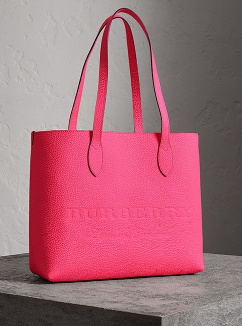 4b9f9d34ccbf A versatile tote by  Burberry in Italian-tanned calf leather in a vibrant  neon tone