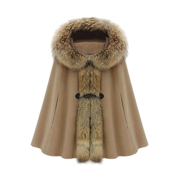 Women's Fuax Fur Hooded Cape Style Coat (6.310 RUB) ❤ liked on Polyvore featuring outerwear, coats, brown hooded cape, hooded cape, brown coat, fur hood coat and cape coat