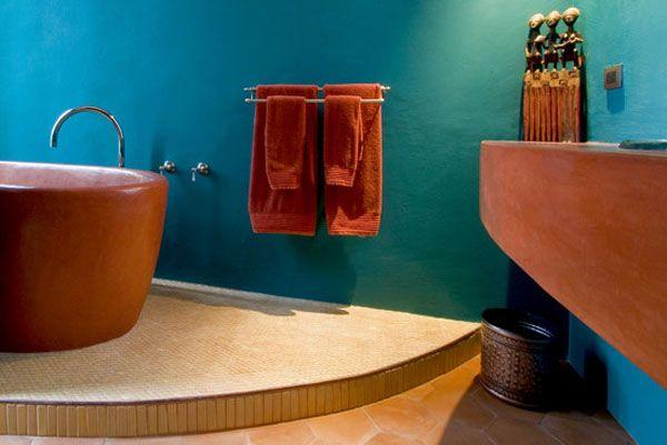 17 best images about interior design on pinterest for Blue and orange bathroom