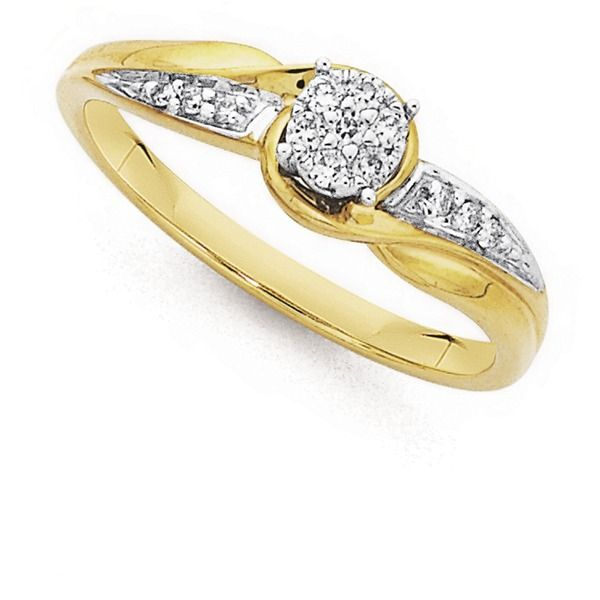 9ct Gold Diamond Cluster Engagement Ring with Shoulder Stones