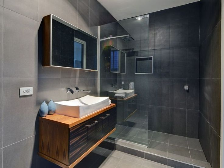 En suite love sleek modern glass wall to wall shower Ensuite tile ideas pictures