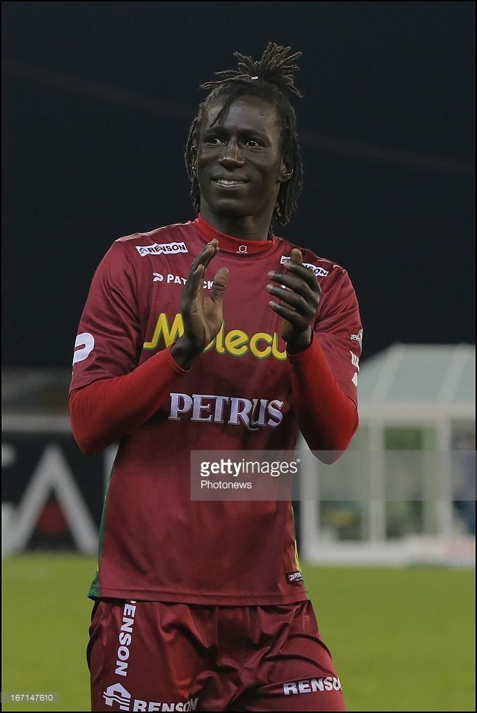 Mbaye Leye of Zulte Waregem celebrates during the Jupiler League Play-off 1 match between Zulte Waregem and Rsc Anderlecht on april 21, 2013 in Waregem, Belgium.