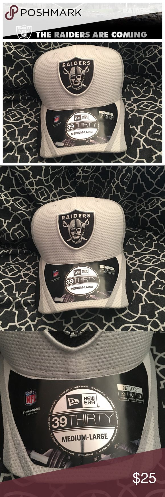 BNWT Raiders hat size Medium Large Get ready for your Las Vegas Raiders next season and get your hat to rep while you are waiting until gameday! Brand new with tags and even the store sticker on the inside bill. Just too big for me I need a small medium. This is a white gray and black gender neutral hat 100% polyester stretch fit curved bill with a nice structured fit to it. Awesome hat!!! New Era Accessories Hats