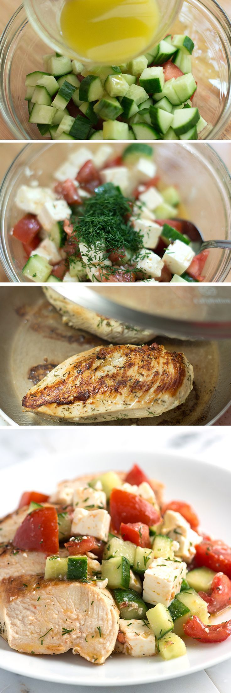 Lemony Chicken Breast Recipe with Cucumber Feta Salad - Chicken breasts are a staple in most kitchens, including ours. This simple marinated chicken breast is topped with a fresh, crisp cucumber salad  and is absolutely perfect for the weekday. From inspiredtaste.net