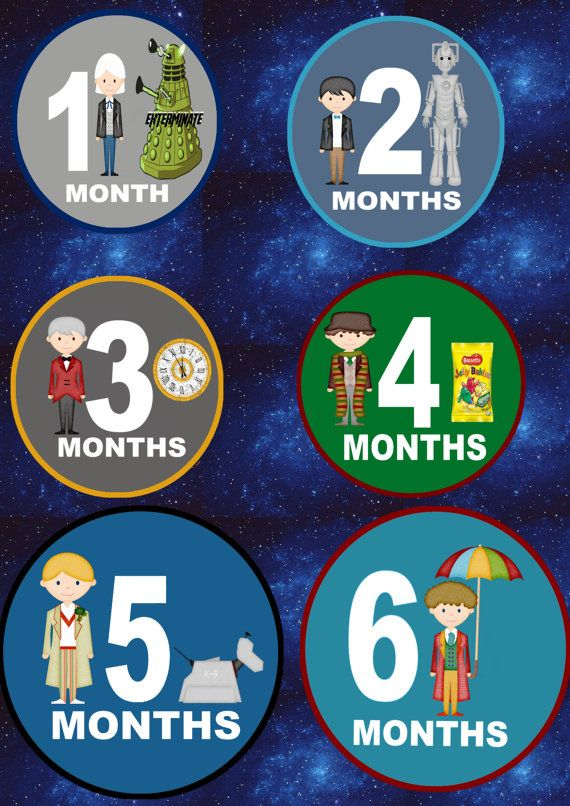 Doctor Who Inspired 12 Month Milestone Gift Set of Cotton Bodysuits - Boys Baby Shower Gift Baby girl baby shower gift