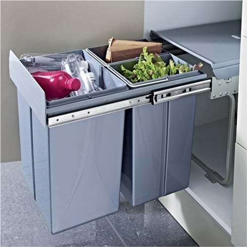 RECYCLE WASTE BIN Kitchen Rubbish Garbage Sliding Pull Out Soft Close Bins 40L