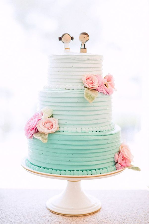 sweet pastel color ombre wedding cake with cute toppers
