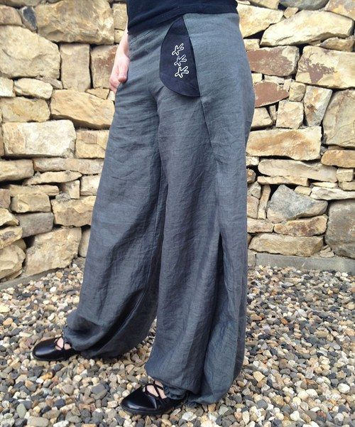 šedé bavlnolněné kalhoty