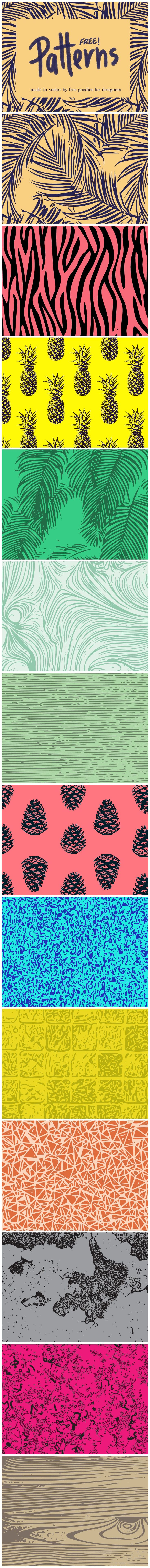 We're back with another freebie!  These #patterns that I'm sharing with you readers today are made of beautiful #illustrations and colors that just POP! The download includes them in a re-sizable .AI vector format as well as a print-ready high quality .PDF document. #Free for personal and #commercial use. Download now!