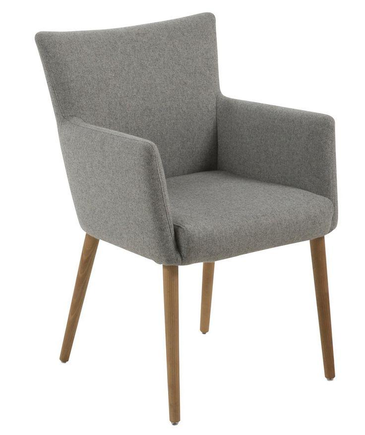 Ann Spisebordsstol - Lys grå - Flot spisebordsstol med betræk. Stolen har behagelige armlæn og et meget enkelt og fint design.  Indvendige siddemål: B: 46cm. x D: 45cm.