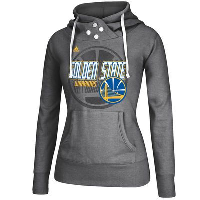 adidas+Golden+State+Warriors+Women's+Gray+Distressed+Back+Logo+Hoodie