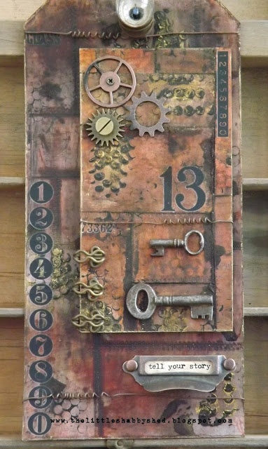 Tag: steampunk, keys, numerals, Tim Holtz-look, brown tones. The Little Shabby Shed