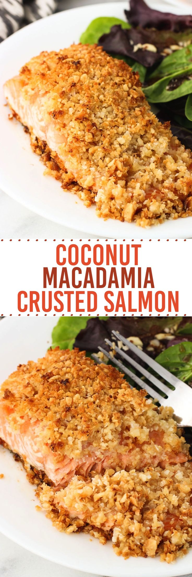 Coconut Macadamia Crusted Salmon is a quick and healthy dinner recipe with a thick crust of macadamia nuts, unsweetened coconut, and panko breadcrumbs.