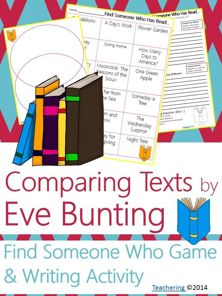 "Eve Bunting Author Study activities: ""Find Someone Who Has Read"" game and compare contrast writing activity about Bunting's books! Fun opening or closing activity for an author study-- aligned to Common Core! TONS of other author studies in this store! #Teachering"