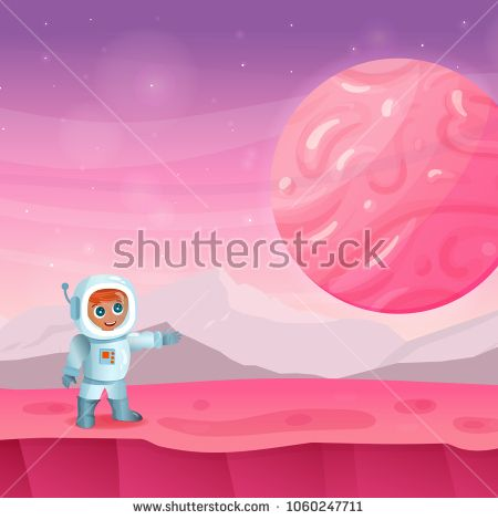 Astronaut vector character and background with mountains, planet, ground and stars. Layers are separated. Perfect for games, devoted to space and universe and other design works.