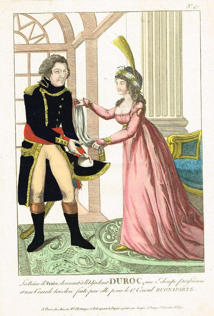 La Reine de Prusse donnant à l'Adjudant DUROC une Echarpe Prussienne et une Cocarde tricolore faite par elle pour le 1er Consul BUONAPARTE - à Paris chez Basset