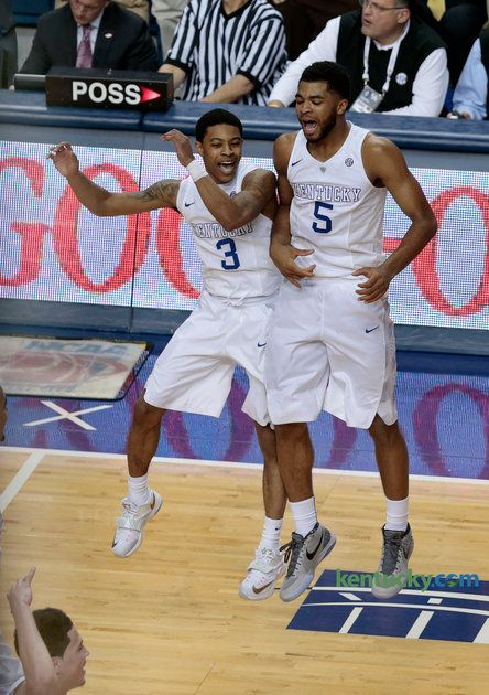 Kentucky Wildcats guard Tyler Ulis (3) and Kentucky Wildcats guard Andrew Harrison (5) celebrated a Ulis 3-pointer as the University of Kentucky played the University of Arkansas in Rupp Arena in Lexington, Ky., Saturday February 28, 2015. This is second half action. UK won 84-67. Photo by Charles Bertram | Staff