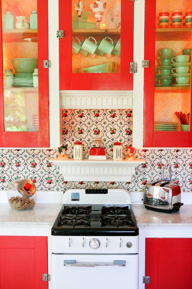vintage red green country kitchen green country