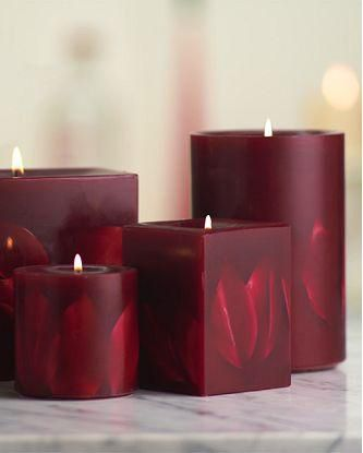 Dark Red Embossed Flower Pillar Candle